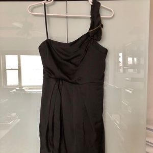 BCBG black satin one shoulder cocktail dress